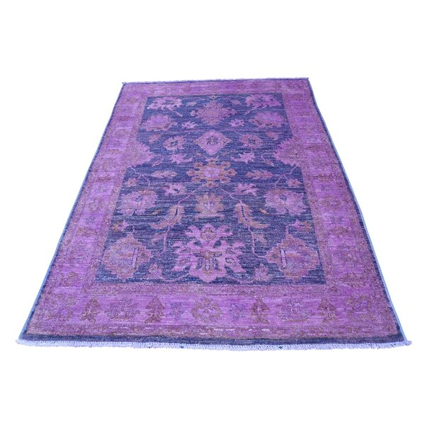 One-of-a-Kind Perna Overdyed Peshawar Oriental Hand-Knotted Purple Area Rug by World Menagerie