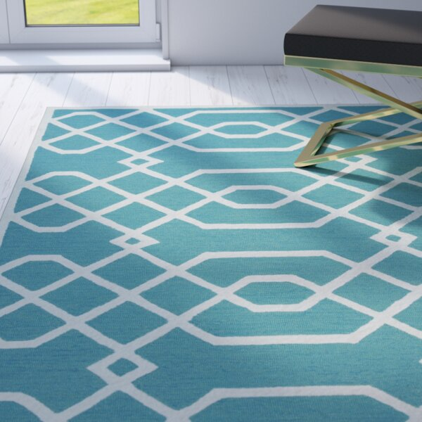 Davinia Hand-Tufted Teal/Off White Area Rug by Mercer41
