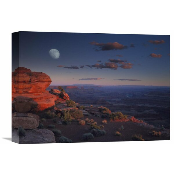 Nature Photographs Moon over Canyonlands National Park from Green River Overlook Utah by Tim Fitzharris Photographic Print on Wrapped Canvas by Global Gallery