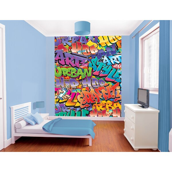 Walltastic Graffiti Wallpaper Mural: WallPops! Walltastic Wall Art Graffiti Wall Mural