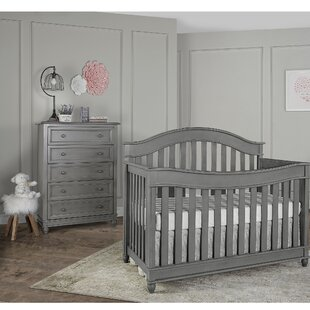 Hampton 5-in-1 Convertible 2 Piece Crib Set with Mattress By Evolur