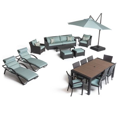 Three Posts Rattan Sunbrella Complete Patio Set Cushions Cushion Color Seating Groups
