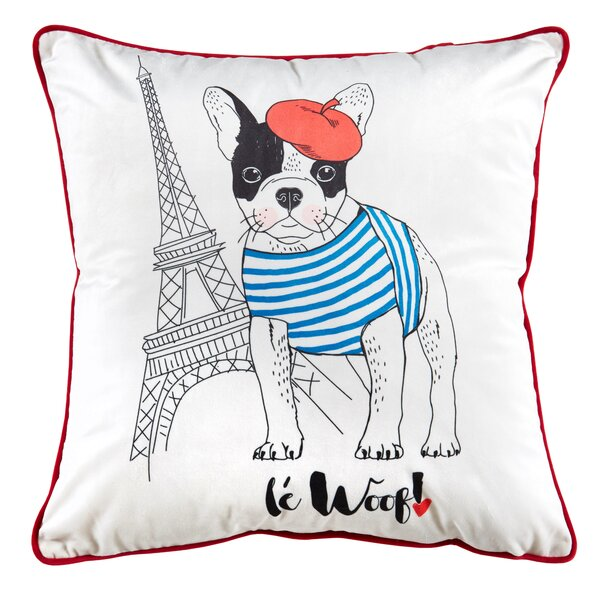 Le Woof Metallic Throw Pillow by Nicole Miller