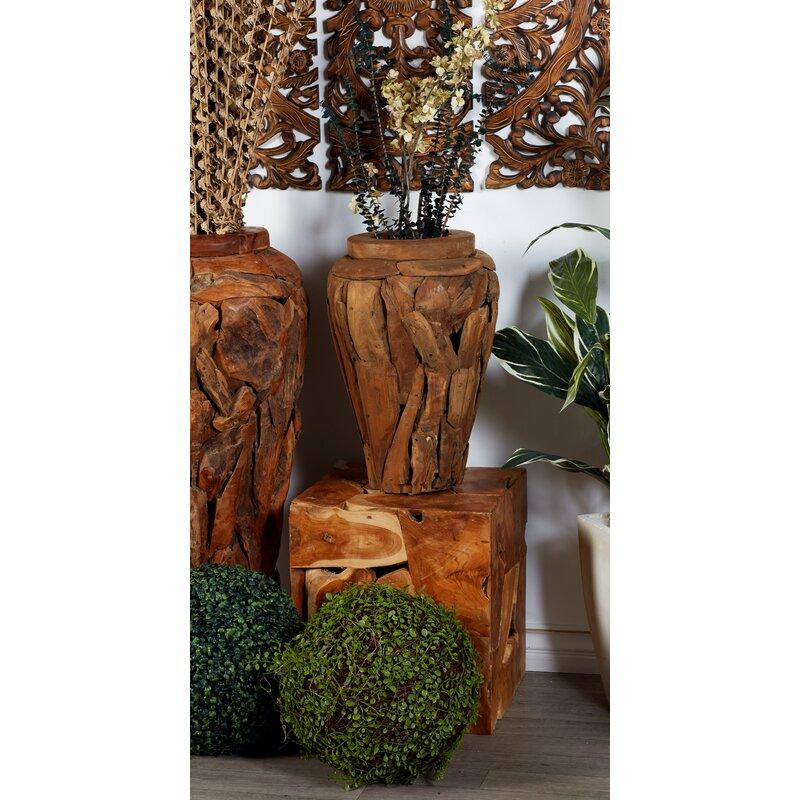 teak wood floor vase - Wooden Floor Vase