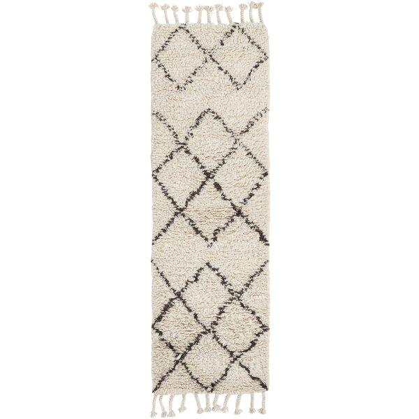 Anthonyville Geometric Handmade Shag Wool Beige/Camel Area Rug