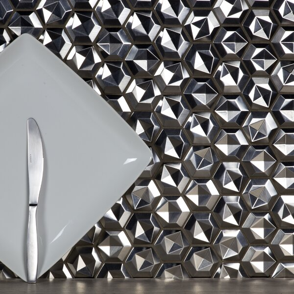Enchanted 3D Hex 2 x 2 Aluminum Mosaic Tile in Silver by Abolos