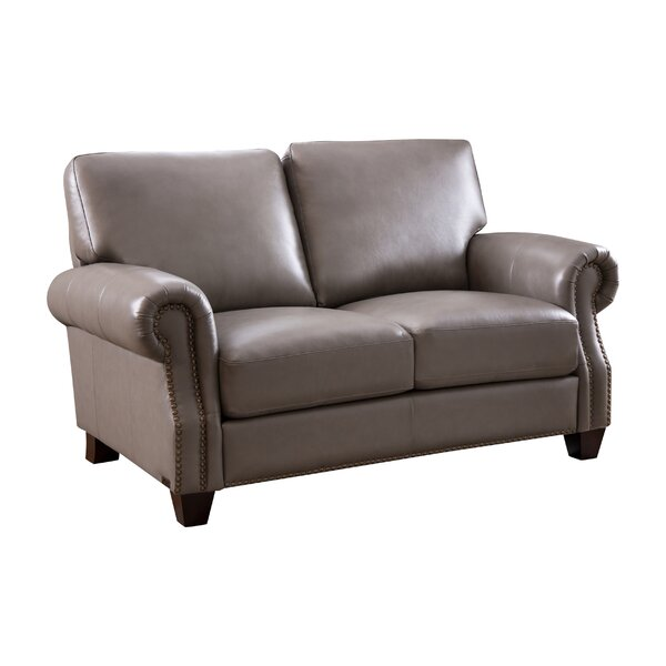 Whipton Leather Loveseat by Three Posts