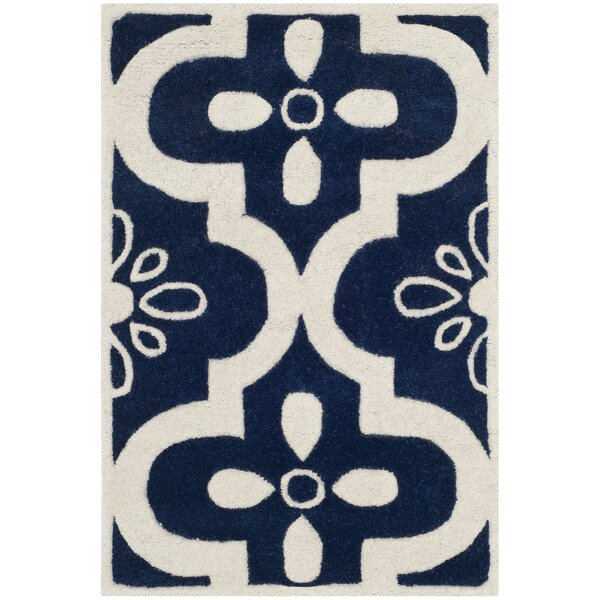 Wilkin Moroccan Hand-Tufted Wool Dark Blue/Ivory Area Rug by Wrought Studio