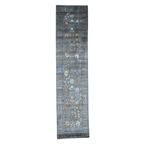 Crafts Hand-Knotted Gray Area Rug by Bloomsbury Market