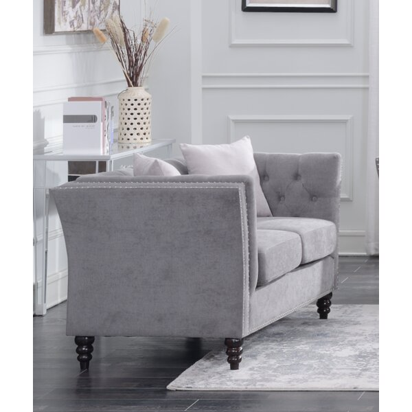 Closeout Schmucker Living Room Chesterfield Loveseat by House of Hampton by House of Hampton
