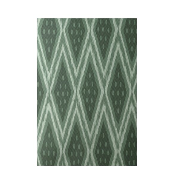 Geometric Hand-Woven Green Indoor/Outdoor Area Rug by e by design
