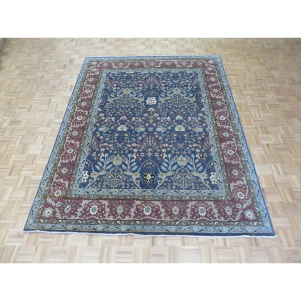One-of-a-Kind Rhyne Antiqued Bijar Hand-Knotted Wool Blue Area Rug by Astoria Grand
