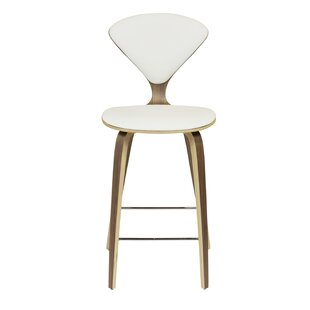 Weiss White Leather 29 Bar Stool