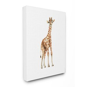 'Happy Baby Giraffe Illustration' Wall Art by Harriet Bee