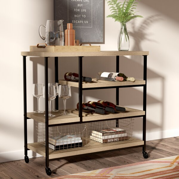 Comet Kitchen Cart with Wooden Top by Mercury Row