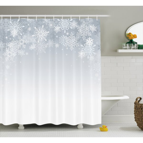 Winter Ations Christmas Back With Snowflake Figures and Fairy Stars Lights Magic Design Shower Curtain by The Holiday Aisle