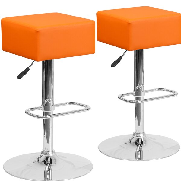 Norcross Adjustable Height Swivel Bar Stool (Set of 2) by Orren Ellis