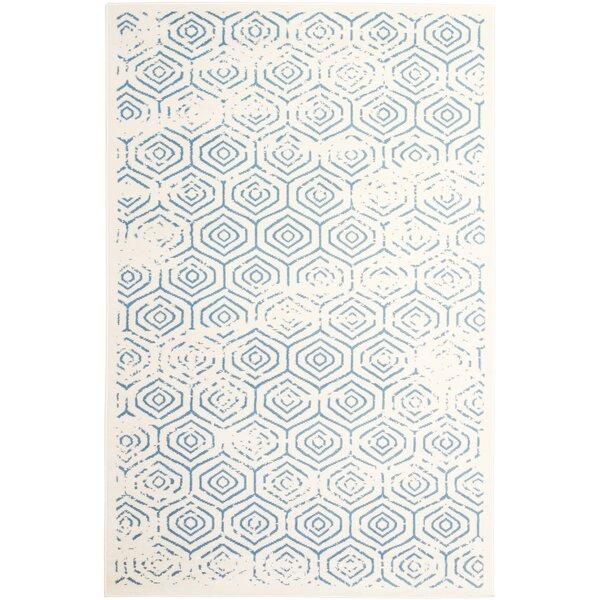Mendoza White/Blue Area Rug by Union Rustic