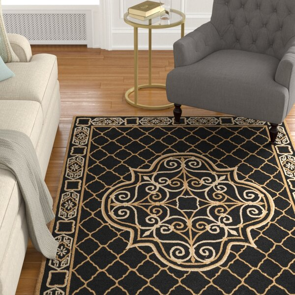 Gresham Palace Hand-Hooked Black/Gold Area Rug by Astoria Grand