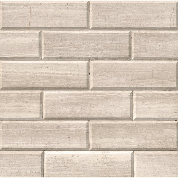 Honed And Big Beveled 4 x 12 Marble Subway Tile in Ivory by MSI