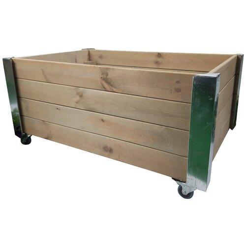 Racine Wood Planter Box Freeport Park Colour: Grey/Brown/Blue