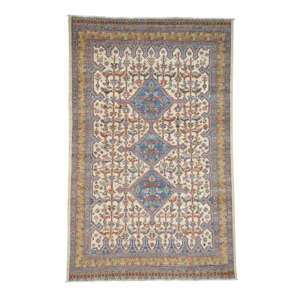 One-of-a-Kind Bagby Hand-Knotted Ivory/Deim Blue Area Rug by Isabelline