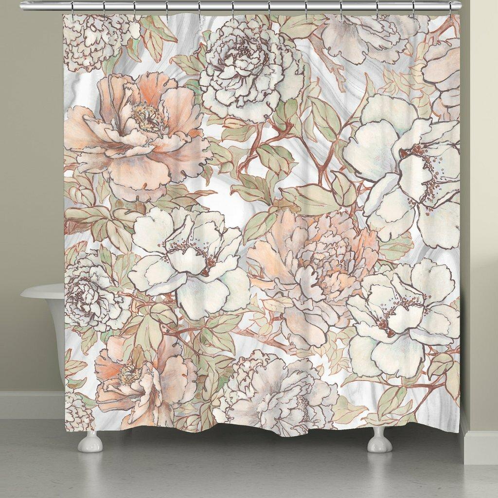 One Allium Way Alyda Blushing Peonies Single Shower Curtain Reviews Wayfair