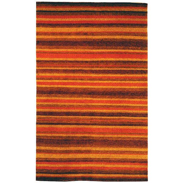 Bernick Tibetan Hand Knotted Rust/Gold Area Rug by Red Barrel Studio