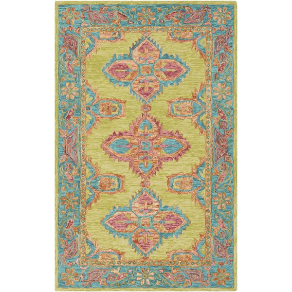 Alongi Hand Hooked Wool Lime/Teal Area Rug by Bungalow Rose
