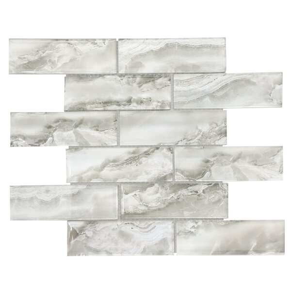 Heavenly 2 x 6 Glass Subway Tile in Silver Gray by Byzantin Mosaic