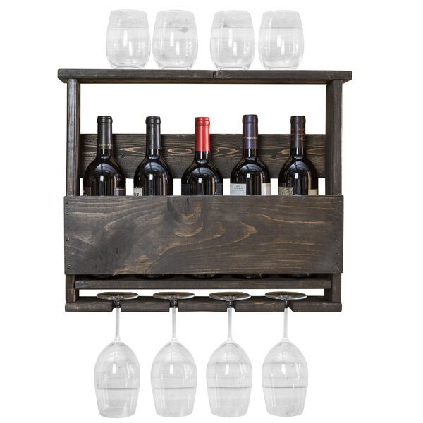 Bernon 5 Bottle Wall Mounted Wine Bottle and Glass Rack by Trent Austin Design Trent Austin Design