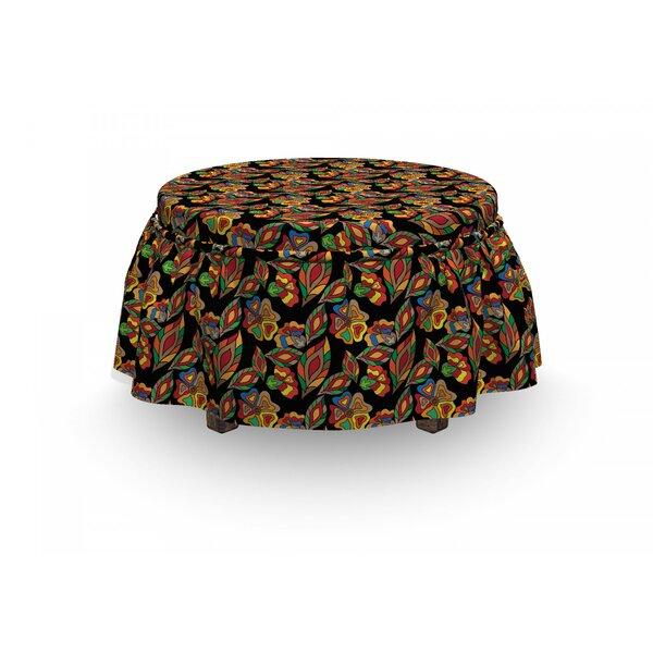 Exotic Autumn Garden 2 Piece Box Cushion Ottoman Slipcover Set By East Urban Home