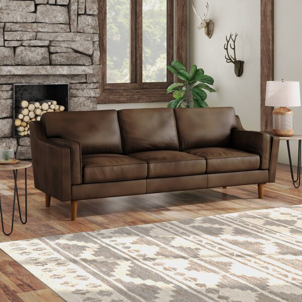 Excellent Quality Warren Mid Century Modern Leather Sofa by Modern Rustic Interiors by Modern Rustic Interiors