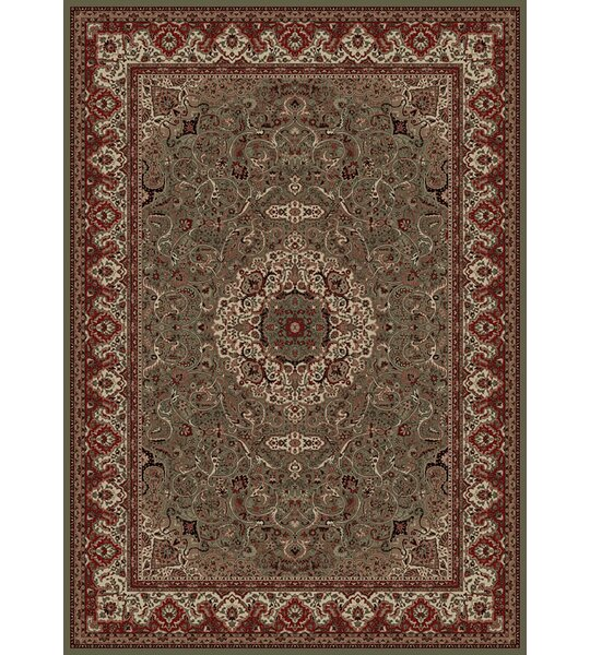Izaiah Persian Classics Green/Red Oriental Isfahan Area Rug by Alcott Hill