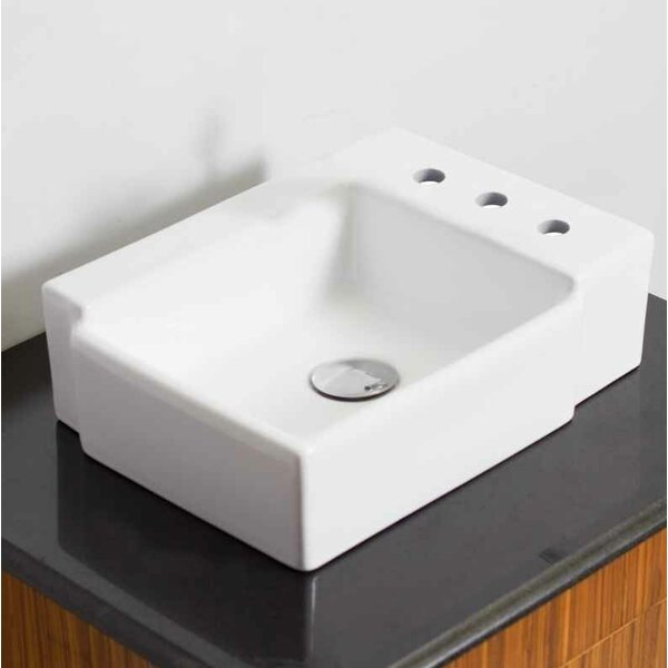 Ceramic 16.25 Bathroom Sink with Faucet
