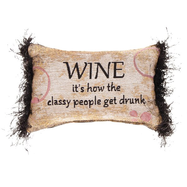 Wine...People Get Drunk Word Lumbar Pillow by Manual Woodworkers & Weavers