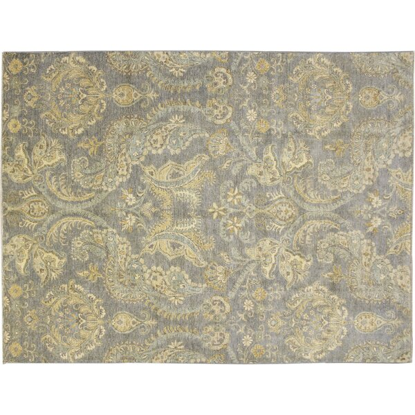 One-of-a-Kind Romona Hand-Knotted Light Blue Wool Area Rug by Isabelline