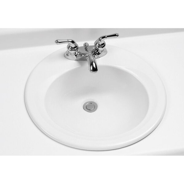 Ceramic Circular Drop-In Bathroom Sink with Overfl