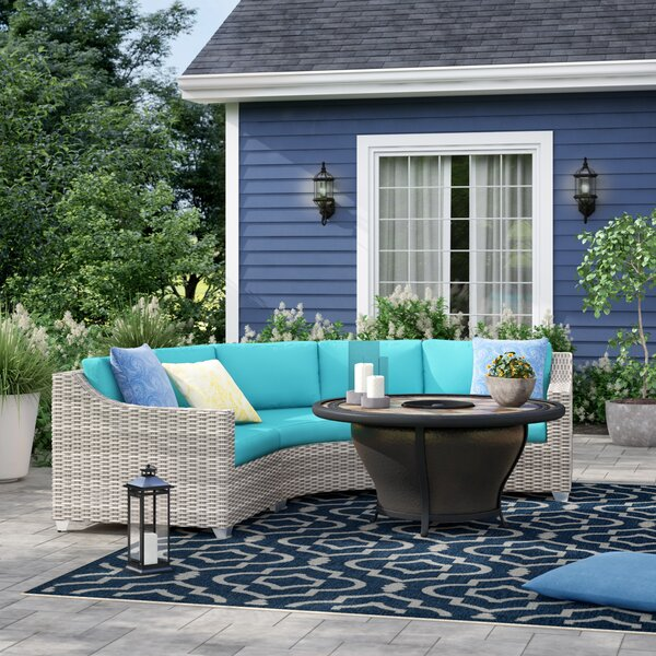 Falmouth 4 Piece Rattan Sectional Seating Group with Cushions