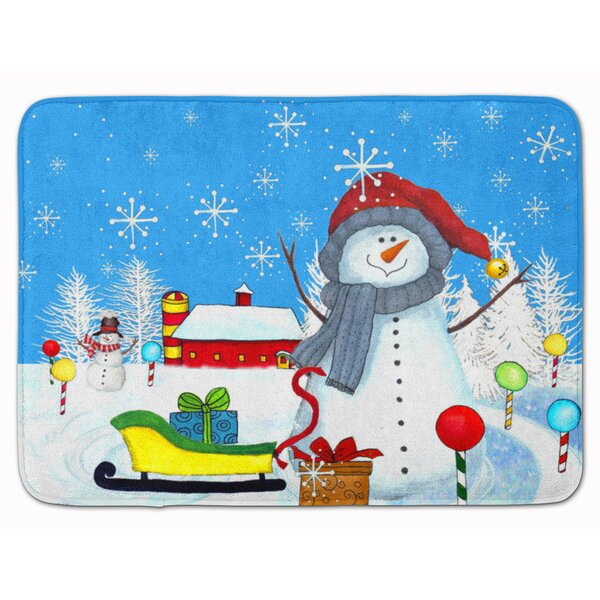 Snowman Snow Happens in the Meadow Memory Foam Bath Rug by The Holiday Aisle