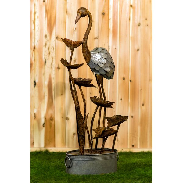 Metal Flamingo with Leaves in a Pail Fountain by Hi-Line Gift Ltd.
