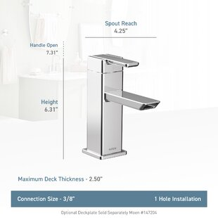 Order 90 Degree Single Hole Low Arc Bathroom Faucet with Drain ByMoen