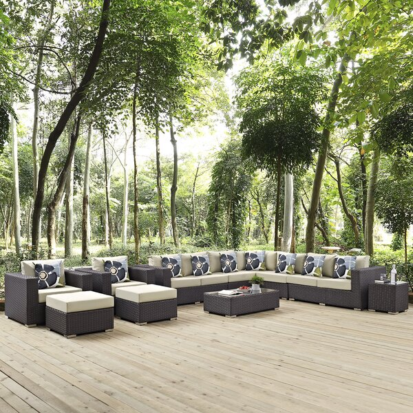 Tripp 11 Piece Rattan Sunbrella Sectional Seating Group with Cushions by Brayden Studio