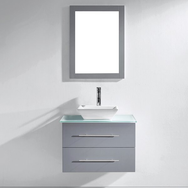 Colville 30 Single Bathroom Vanity Set with Tempered Glass Top and Mirror