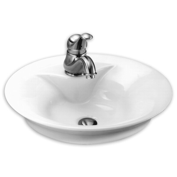 Ceramic Circular Vessel Bathroom Sink with Overflo