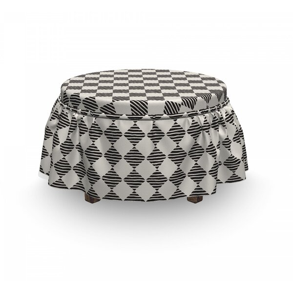 Discount Rhombuses With Wavy Lines Ottoman Slipcover (Set Of 2)