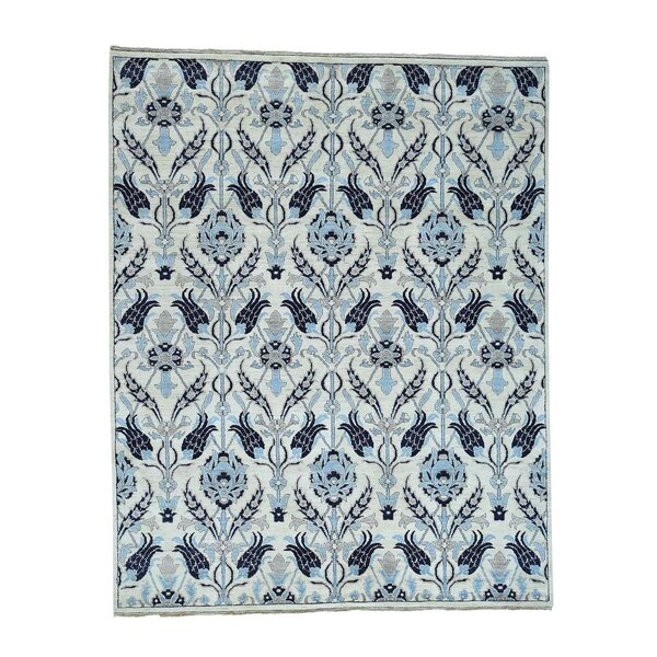One-of-a-Kind Bagby Hand-Knotted Navy Blue/Sky Blue Area Rug by Isabelline