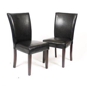 black leatherette parson chair set of 2