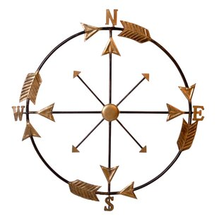 Wall Compass Arrow Accent Wall Décor  sc 1 st  Wayfair & Compass Wall Decor | Wayfair
