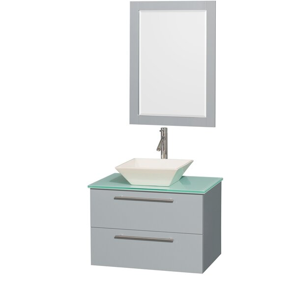 Amare 30 Single Dove Gray Bathroom Vanity Set with Mirror by Wyndham Collection